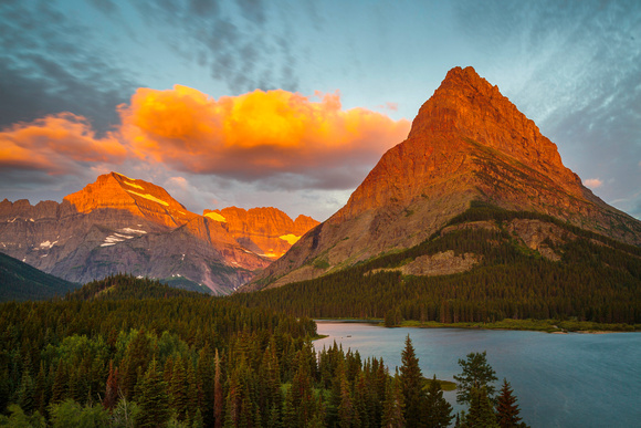 First Light at Swiftcurrent Lake