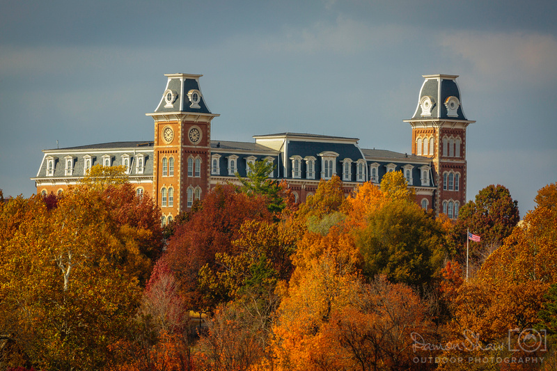 Old Main Fall with flying flag